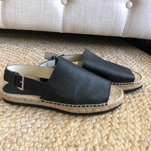 Sam Edelman black leather peep toe espadrilles